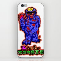 sesame street iPhone & iPod Skins featuring Z IS FOR ZOMBIE!  Everyone's favorite Muppet from Sesame Street:  Cookie Monster...  THE ZOMBIE! by beetoons