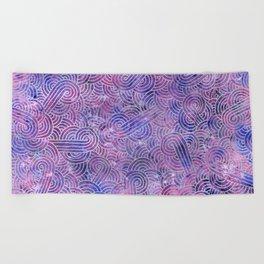 Purple and faux silver swirls doodles Beach Towel