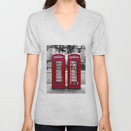 London Phonebox Twins Unisex V-Neck