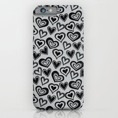 MESSY HEARTS: BLACK GRAY iPhone 6s Slim Case