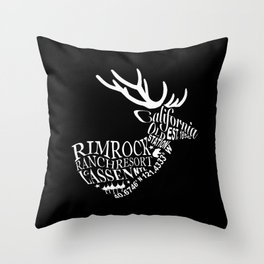 Rim Rock Ranch Deer in Black and White Throw Pillow