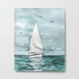 Sailboat painting on turquoise waters stormy skies Metal Print