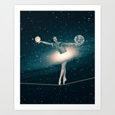 The Cosmic Game of Balance or Universe Ballerina Art Print