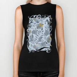 Blue Grey Succulent And Leaf Pattern With Gold Biker Tank