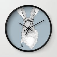 hare Wall Clocks featuring HARE by JosignArt