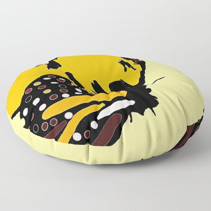 Yellow Butterfly Floor Pillow