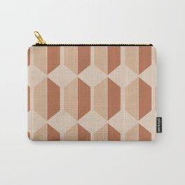Hexagonal Pattern VII Terracotta Carry-All Pouch