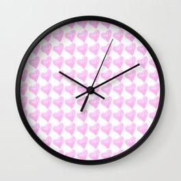 Light Pink Watercolor Heart Pattern Wall Clock