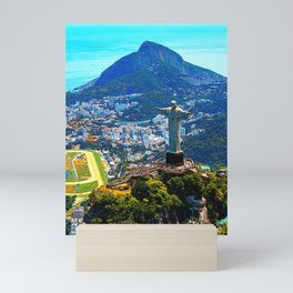 Beautiful Aerial view of Rio de Janeiro with Christ Redeemer and Corcovado Mountain - Brazil Mini Art Print