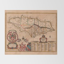 Map Of Jamaica 1671 Throw Blanket