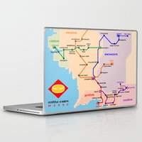 middle earth Laptop & iPad Skins featuring Middle-Earth metro map by tuditees