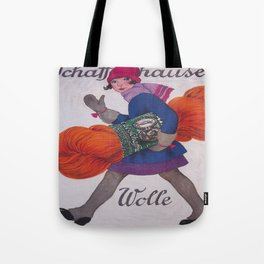 Girl With Giant Skein of Yarn Tote Bag
