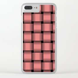 Large Pastel Red Weave Clear iPhone Case