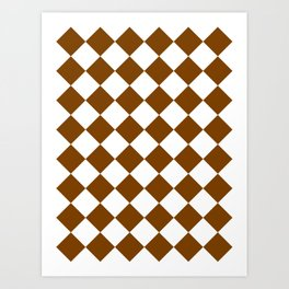 Large Diamonds - White and Chocolate Brown Art Print