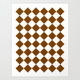 Large Diamonds - White and Chocolate Brown Art Print