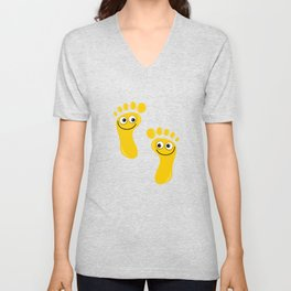 Yellow Happy Feet Unisex V-Neck