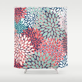 Flower Print, Navy, Red, Pink, Green Shower Curtain
