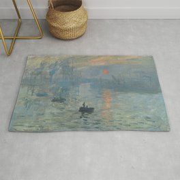 Impression Sunrise Painting by Claude Monet Rug