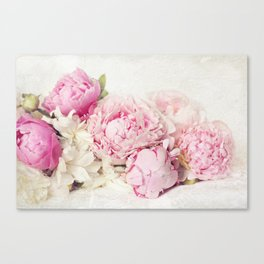Peonies on white Canvas Print