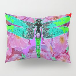 EMERALD DRAGONFLIES  PINK ROSES RED COLOR Pillow Sham