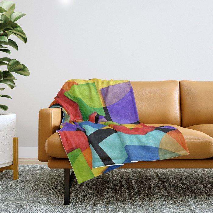 Candy Rainbow Geometric Throw Blanket