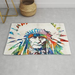 Native American Art - Chief - By Sharon Cummings Rug