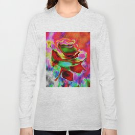 Funky Painterly Rose By Annie Zeno Long Sleeve T-shirt