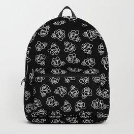 Tiny White Doodled Roses Backpack