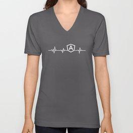 AngularJS Heart beat shirt for JS developers Unisex V-Neck