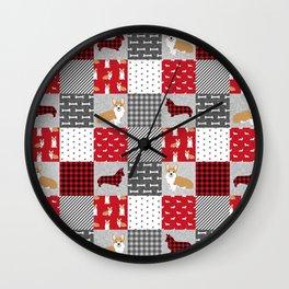 Corgi Patchwork Print - red, dog, buffalo plaid, plaid, mens corgi dog Wall Clock