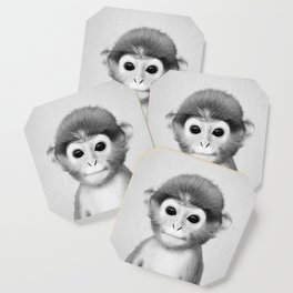 Baby Monkey - Black & White Coaster