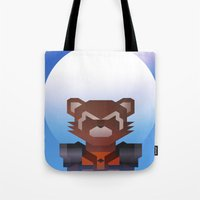 rocket raccoon Tote Bags featuring Guardians of the Galaxy - Rocket Raccoon by Casa del Kables