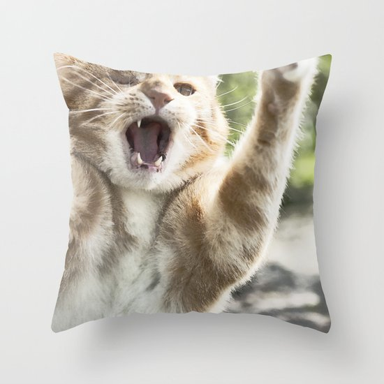 Attack Cat Throw Pillow