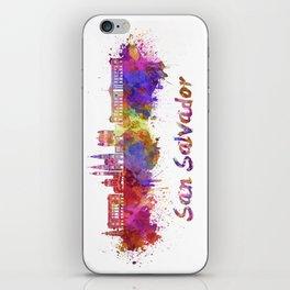 San Salvador skyline in watercolor iPhone Skin