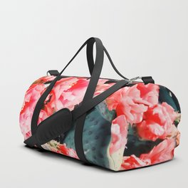 closeup blooming red cactus flower texture background Duffle Bag