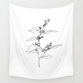 Seeded Eucalyptus — Minimal Botanical Line Drawing Wall Tapestry