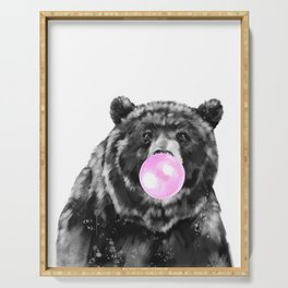 Bubble Gum Big Bear Black and White Serving Tray