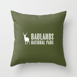 Deer: Badlands National Park, South Dakota Throw Pillow