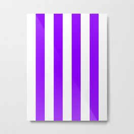 Vertical Stripes - White and Violet Metal Print