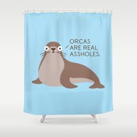 seal Shower Curtains featuring Seal of Reproval by David Olenick