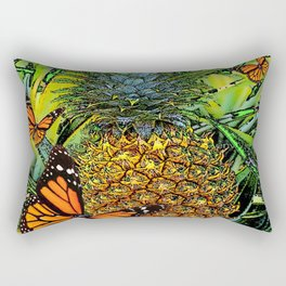 MONARCH BUTTERFLIES & PINEAPPLE ABSTRACT WATERCOLOR Rectangular Pillow