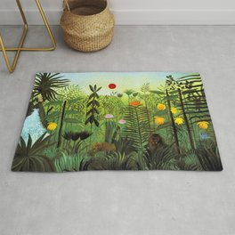 """Henri Rousseau """"Exotic Landscape with Lion and Lioness in Africa"""" Rug"""