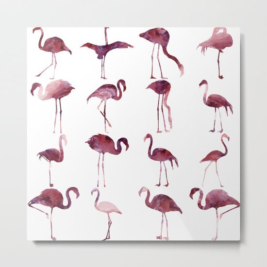 Summer Flamingos Pink Metal Print