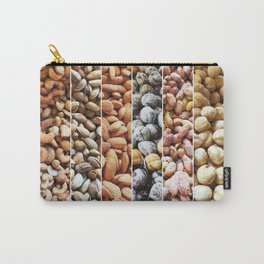 Group Of Nuts As Background. Walnuts, Cashew, Pistachio, Almonds, Hazelnuts, Peanuts And Chickpeas. Carry-All Pouch