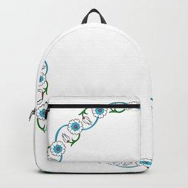 Turkish Round Floral Tile Art Ornament Backpack