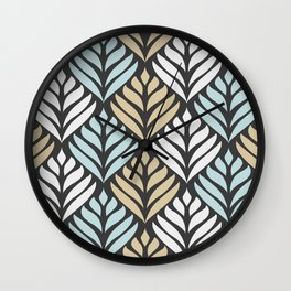 Abstract Lotus - Chocolate and Blue Wall Clock