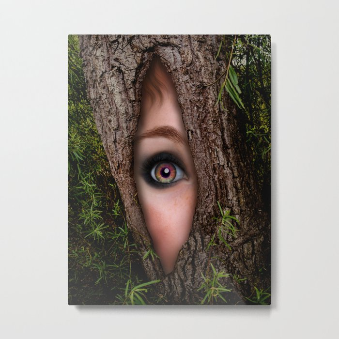Beautiful Face trapped in a tree trunk Metal Print