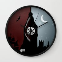 peter pan Wall Clocks featuring Peter Pan by Rowan Stocks-Moore
