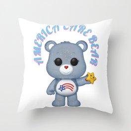 american bear blue on pink font Throw Pillow