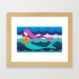 Mermaid in Blue Framed Art Print